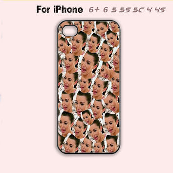 Funny Kim Kardashian Crying Collage Cute Phone Case Cover iPhone 4 4s 5 5s 5c 6 6+-5 Colors Available