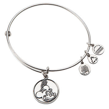 Disney Parks Minnie Mouse Charm Bangle Bracelet Alex & Ani Silver New With Tags