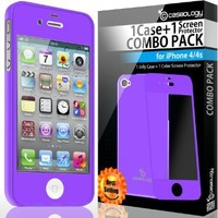 Caseology Slim Fit Flexible TPU Case and Color Screen Protector Combo for iPhone 4 [All Versions] (Purple)