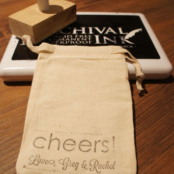 Wedding Cheers Favor Bags - Custom Wedding Stamped bag-Set of 50-3x4 wedding favor bags, ask a question