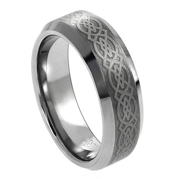 Tungsten Carbide Laser Engraved Wicca Celtic Pattern Ring 6MM