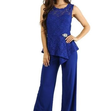 Long Sleeveless Lace Pant Suit
