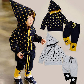 Kids Star Print Clothing Set Baby Boy Hooded Hoodie + Pants Suits 2pcs/set  7_S = 1905940740