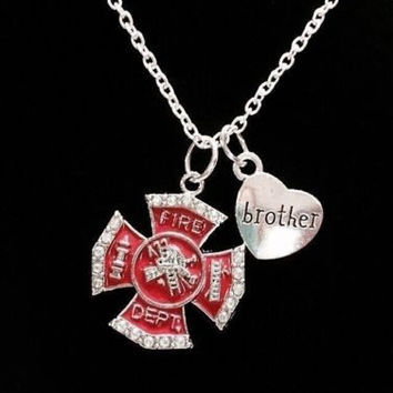 Red Maltese Cross Firefighter Brother Fireman Firefighters Gift Charm Necklace