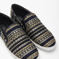 Metallic Embroidered Slip-Ons