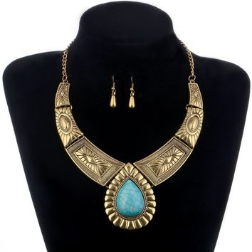Gold/silver Color Bohemia Jewelry Set Vintage Style Big Choker Necklace Collar Earrings Set Greenn Beads Pendant African Sets
