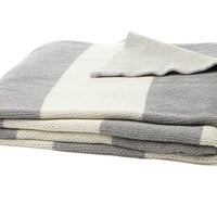 Striped Cotton-Blend Throw, Gray