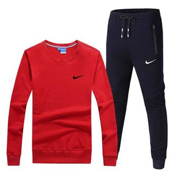 NIKE New fashion hook print sports leisure long sleeve top and pants two piece suit Red