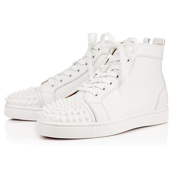 Christian Louboutin Cl Lou Spikes Mens Flat White/white Leather Classic Sneakers