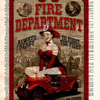 Pinup girl, Fire department sign, pin up art  vintage dictionary page art print