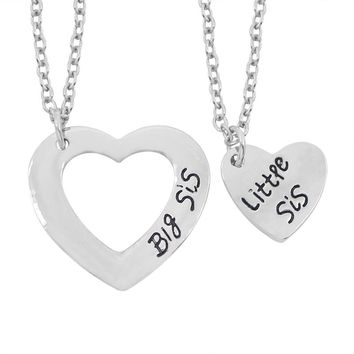 2Pcs/Set Big Sister Little Sister Necklace Family Double Hollow Love Heart Charm Necklace Best Friends BFF Sister Necklaces