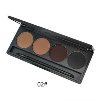 4 Colours Earth Tone Matte Waterproof  Eyebrow Powder Palette with Mirror and Brush