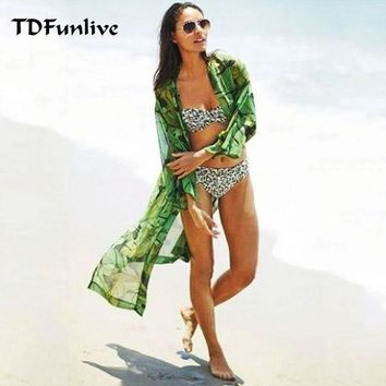 Tdfunlive Green Leaf Print Floral Summer Thin Chiffon Beach Long Cover Up Bathing Suit Cover Ups Kaftan Beach Beach Wear
