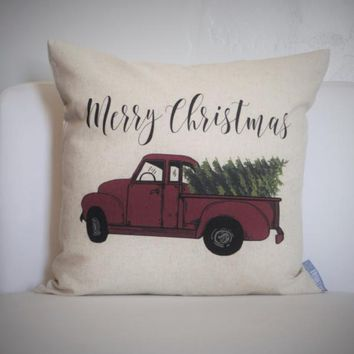 Christmas pillow cover, Christmas decor, Christmas Tree, Merry Christmas pillow, hand drawn, Vintage christmas, 18x18,  red Christmas truck