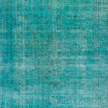 6.4x10 Ft (195x305 cm) Turquoise Aqua Blue & Teal Color OVERDYED Vintage Turkish Rug, Distressed look Handmade Carpet, Wool and Cotton, A192