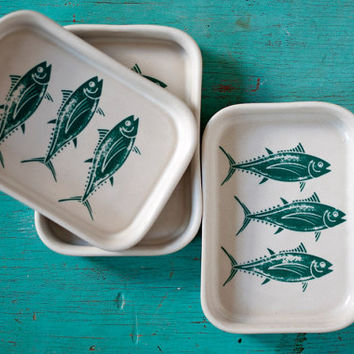 Triple Fish Serving Dish - small functional porcelain tray with antique look fish decals