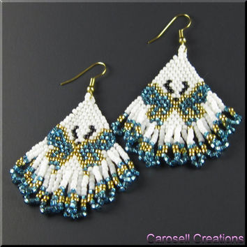 Butterfly Beadwork Dangle Chandelier Seed Bead Earrings in Turquoise and Gold