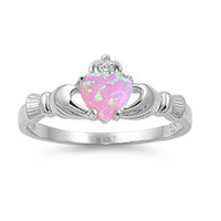Sterling Silver Pink Opal Claddagh Ring Size  4-12