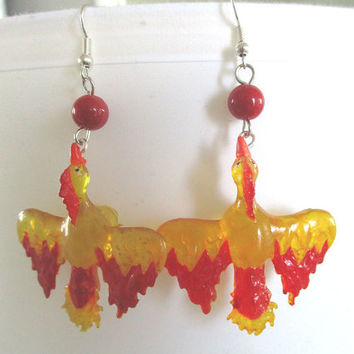 Pokémon GO Earrings - TEAM VALOR Moltres earrings - Gamer Gear - Cosplay