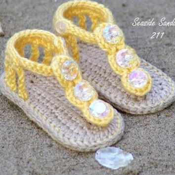 Crochet Baby Shoes Sandals Yellow - Sizes 0-9 Months