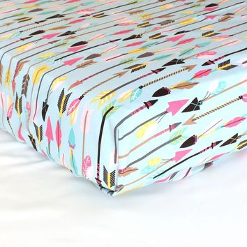 Fitted Crib Sheets | Tribal Quills and Arrows in Pink & Aqua