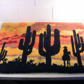 Mid Century Wall Hanging Vintage Textile Art Hand Hooked Rug Orange Sunset Cowboy