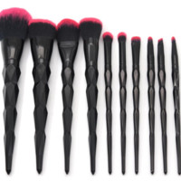 BLACK RUBY 10 Piece Eye & Face Makeup Brushes