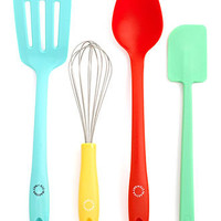 Martha Stewart Collection Utensil Set, 4 Piece Color (Whisk, Turner, Spoon and Spatula) - Kitchen Gadgets - Kitchen - Macy's