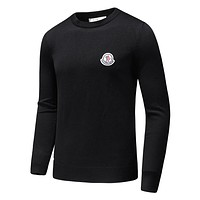 Moncler Popular Men Women Casual Long Sleeve Knit Sweater Sweatshirt Top Black