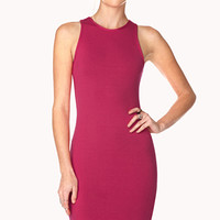 FOREVER 21 Posh Racerfront Dress Hot Pink