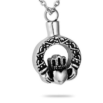 HooAMI Claddagh Celtic Knot Cremation Jewelry Memorial Urn Necklace Ashes Pendant