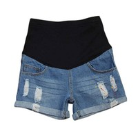 Maternity Distressed Denim Shorts With Belly Support