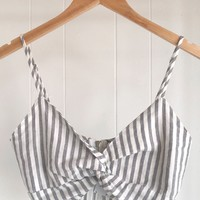 Stripe Front Knot Crop Top