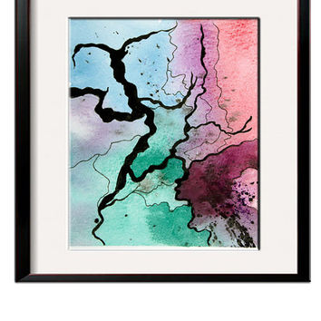Original watercolor abstract painting - Fracture Abstraction 7 - Watercolor Landscape Abstract, watercolour and ink, work on paper, SFA