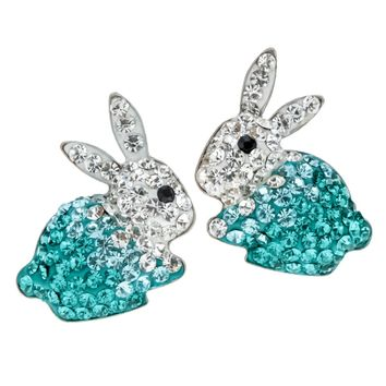 SHIPS FROM USA 925 Sterling silver bunny rabbit stud earrings austrian crystal easter jewelry gifts for women girls her HE04