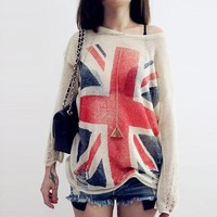 British Flag Distressed Sweatshirt from ShopWunderlust