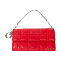Dior Wallet On Chain Red Cannage