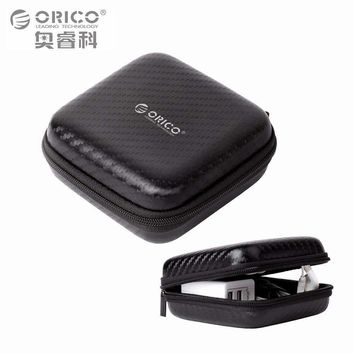 ORICO Headphone Case Bag Portable Earphone Earbuds Hard Box Storage for Memory Card USB Cable Organizer Mini Earphone Bag-Black