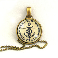 10% SALE Necklace Old Captain Anchor Sailboat Vintage Art Pendant Necklaces Gift