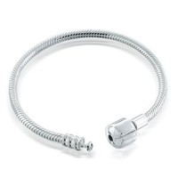 Bling Jewelry Fits Pandora 925 Silver 3mm Snake Bracelet Barrel Snap Clasp