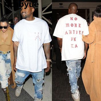 Acaoyue Hip Hop Kanye West I feel Like Paul 100% Cotton T shirts NO MORE PARTIES IN LA Tee
