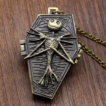 2017 New Arrival Nightmare Before Christmas Pocket Watch Necklace Best Gift For Kids Pendant Bronze Clock relogio