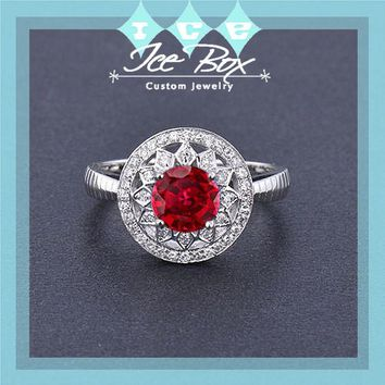 Cultured Ruby Engagement Ring .75ct, 6mm Round Cultured Ruby in a 14k White Gold Diamond Halo Setting