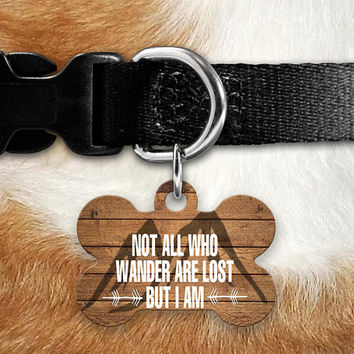 Not All Who Wander Pet ID Tag, Lost Dog Tag, Pet Name Tag, Custom Pet Tag, Dog Tag Collar, Circle Bone Personalized Double Sided Wood Look
