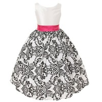 Kids Dream White Fuchsia Velvet Flocked Flower Girl Dress Girls 2T-12