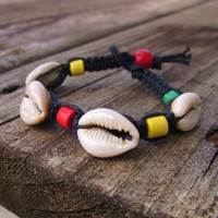 Cowrie Shell Rasta Hemp Bracelet Wooden Beads