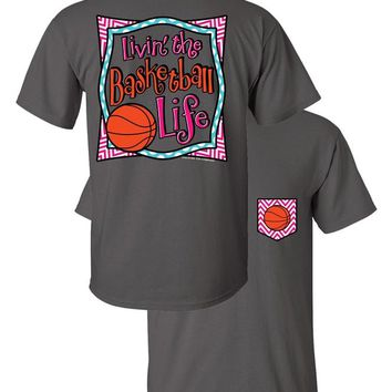 SALE Southern Couture Livin the Basketball Life Sports Chevron Faux Pocket Girlie Bright T Shirt