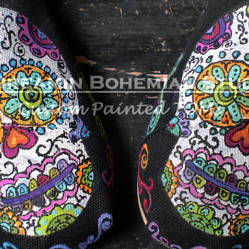 Sugar Skulls Day of the Dead hand painted TOMS