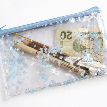 Blue Star /  Pencil case, Transparent wallet, Clear bag, Purse organizer, glitter bag
