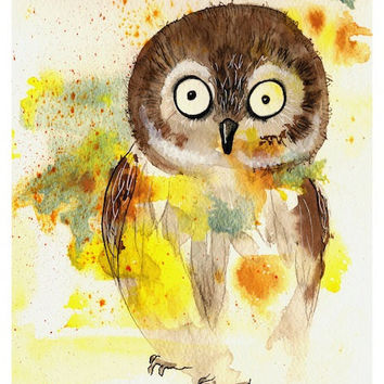 Owl - Art Print cute barn owl colorful kids room decor nursery shower gift idea pretty watercolor painting Oladesign 11x14